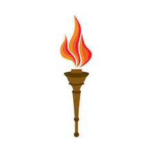 Icon Torch, Burning Flame, Simbol Heat, Concept Fire, Icon Victory