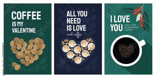 Obraz na plátně Set of greeting card for Valentines day and coffee lovers