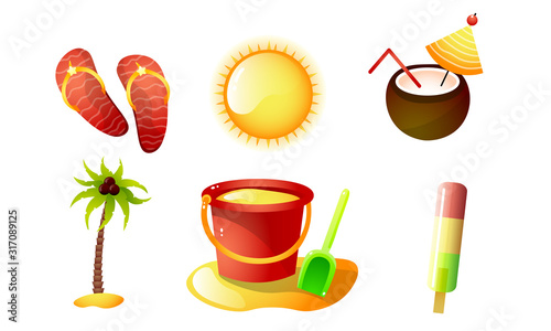 Cuadros en Lienzo Set of isolated items for summer holidays vector illustration