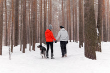 Young Couple Walking A Dog In The Winter Forest