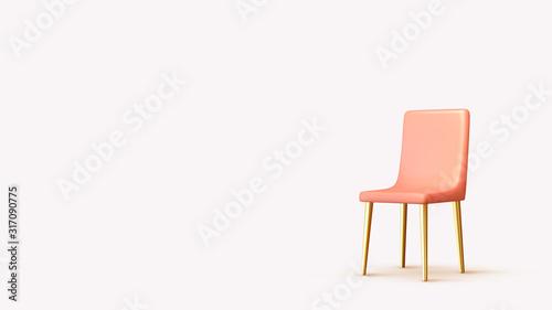Obraz na płótnie Realistic 3d chair isolated with shadow. Vector illustration