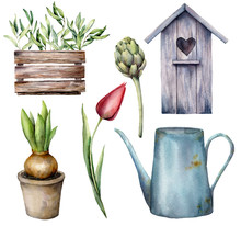 Watercolor Gardening Set. Hand Painted Birdhouse, Watering Can, Hyacinth In A Pot, Artichoke And Tulip Isolated On A White Background. Holiday Illustration For Design, Print, Fabric Or Background.