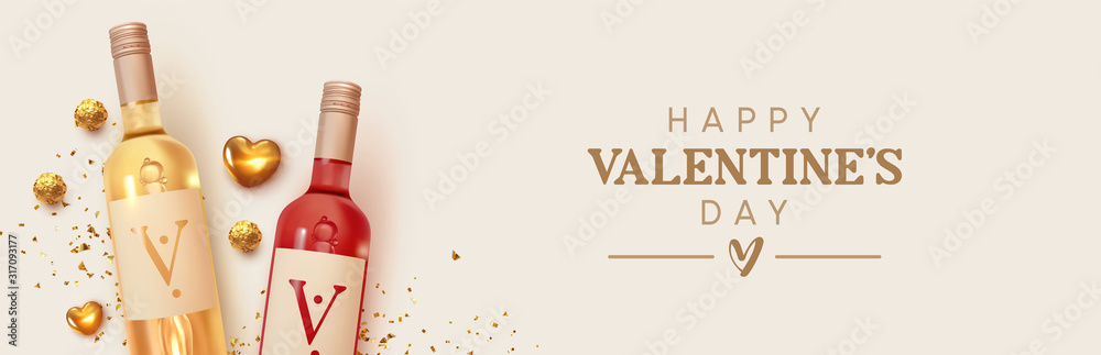 Fototapeta Happy Valentines Day. Design with realistic two bottles of alcohol wine red and white varieties, chocolate candies in gold foil, golden 3d hearts and glitter confetti. Romantic background