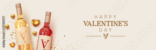 Obraz Happy Valentines Day. Design with realistic two bottles of alcohol wine red and white varieties, chocolate candies in gold foil, golden 3d hearts and glitter confetti. Romantic background - fototapety do salonu