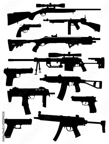 set of weapon silhouettes vector Wallpaper Mural