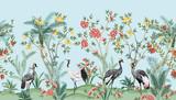 Vintage chinoiserie kwiatowy palmy, drzewa owocowe, rośliny, żuraw ptak, czerwone róże bezszwowe granica niebieskim tle. Egzotyczne orientalne tapety. - 317094983