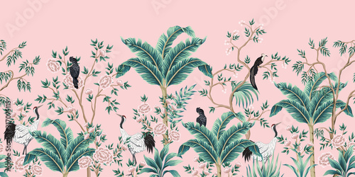 Vintage garden tree, banana tree, plant, crane, parrot, bird floral seamless ...