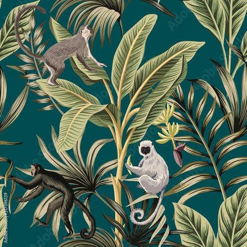 Fototapeta premium Tropikalne bananowce vintage, rośliny, liście palmowe, lemur, małpa kwiatowy wzór zielone tło. Egzotyczna tapeta dżungli.