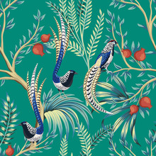 Vintage Garden Pomegranate Fruit Tree, Plant, Exotic Bird Floral Seamless Pattern Turquoise Background. Exotic Chinoiserie Wallpaper.