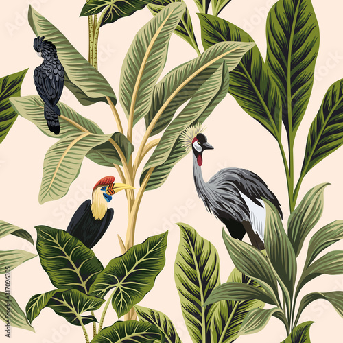Tropical vintage botanical bird crane, parrot, palm tree, plant, banana tree floral seamless pattern pink background. Exotic jungle wallpaper. Fotomurales