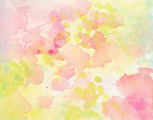 Pink And Yellow Watercolor Paint Splash Or Blotch Background With Fringe Bleed Wash And Bloom Design, Blobs Of Paint And Old Vintage Watercolor Paper Texture Grain