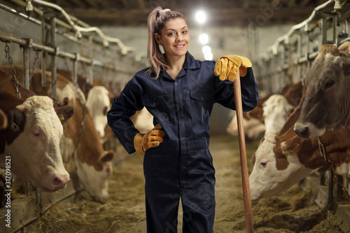 Female worker on a cow dairy farm Canvas Print