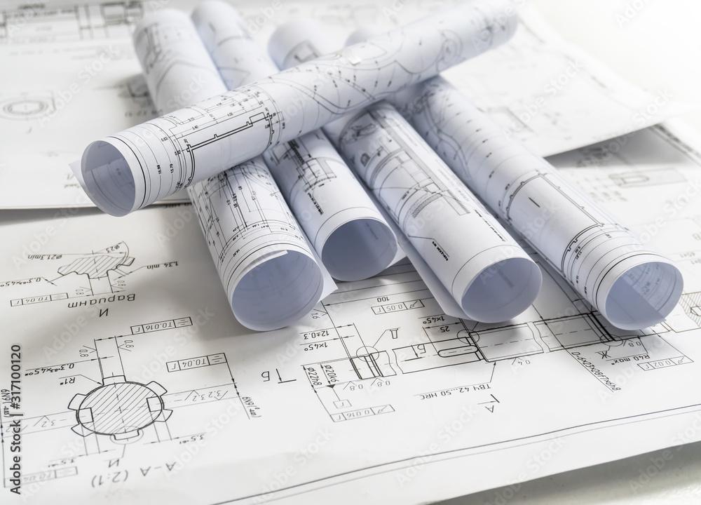 Fototapeta Technology blueprints. The part of engineering project.