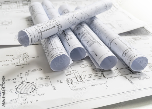 Tablou Canvas Technology blueprints. The part of engineering project.