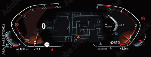 Illustration of fully digital LCD instrument cluster with navigation screen in center Fototapet