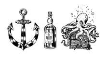 Nautical Anchor And Glass Bottle, Sea Octopus And Marine Devilfish, Ocean Waves. Hand Drawn Monochrome Retro Engraved Old Sketch. Vector Illustration For Tattoo Or Emblems.