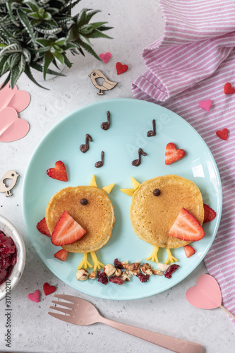 Creative idea for kids breakfast - funny pancakes shaped cute birds