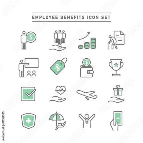 EMPLOYEE BENEFITS ICON SET Canvas Print