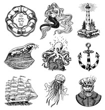 Nautical Adventure Set. Sea Li...