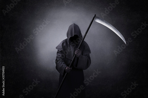 Canvas Print Grim reaper with scythe in the dark