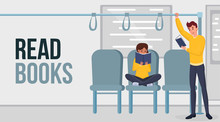 Read Books Flat Vector Banner Template. Cartoon People Enjoying Useful Hobby In Public Transport. Young Commuters With Paperback Books Reading Novels In Subway Train Poster Design Layout