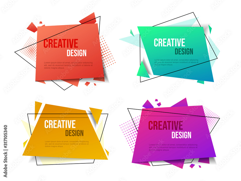 Fototapeta Creative vector banner templates set. Abstract geometric backgrounds collection with text space. Flamboyant gradient color backdrops with stylish decorative elements, thin line frames and dots