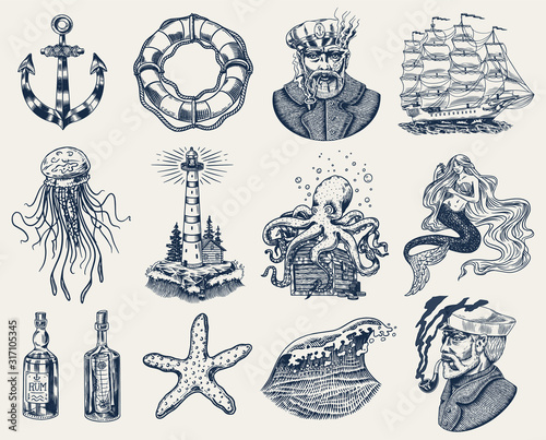 Fototapeta Nautical adventure set. Sea lighthouse, mermaid and marine captain, octopus and shipping sail, old sailor, ocean waves, seaman and lifebuoy. Hand drawn engraved old sketch. obraz