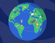 Global Delivery Service Isometric Illustration. Planet Earth In Space With Cargo Vehicles, Drones Carrying Parcels Across Continents. Logistics Company, International Goods Shipment