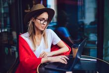 Trendy Blogger Typing On Lapto...