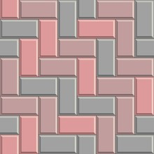 Seamless Texture Of Gray Concrete Rectangular Pavement Bricks. 3D Repeating Pattern Of Herringbone Street Tiles