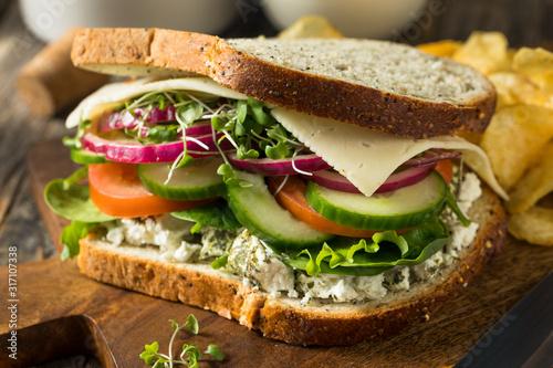 Obraz Healthy Organic Veggie Garden Sandwich - fototapety do salonu