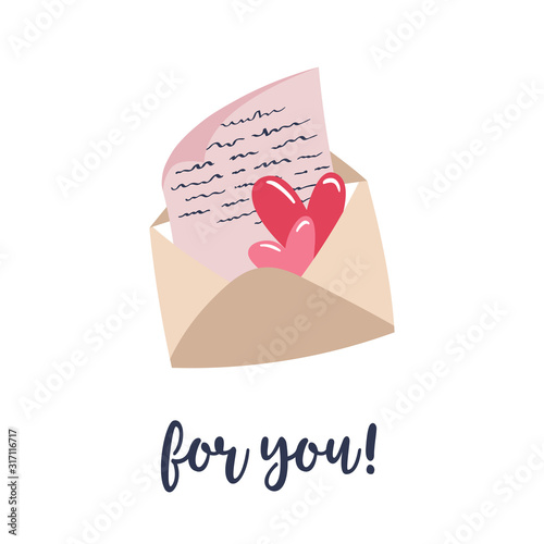 Photo Sheet of paper and hearts inside an envelope
