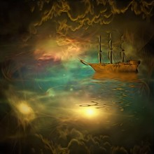 Surreal Painting. Ancient Ship Floats In Vivid Clouds