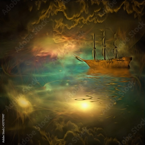 Photo Surreal painting. Ancient ship floats in vivid clouds