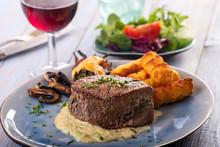 Closeup Of A Steak On A Plate