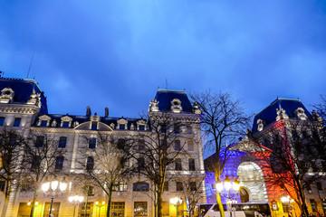 Notre dame de paris church cathedral, at night, Photo image a Beautiful panoramic view of Paris Metropolitan City