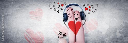 Fototapeta Zwei verliebte Finger mit Kopfhörer obraz
