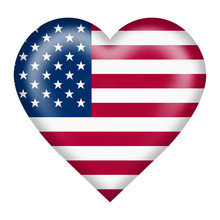United States Flag Heart Butto...