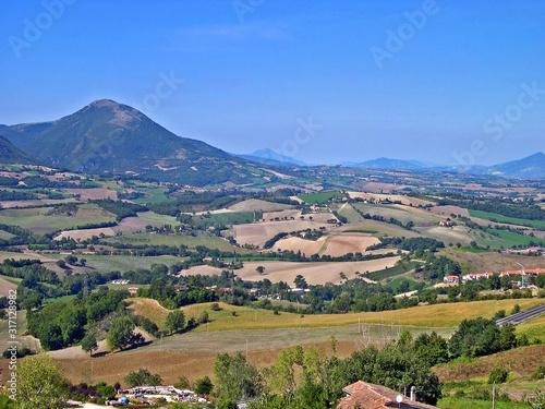 Italy, Marche, Apennines landscape view from Rocca Borgia. Canvas Print