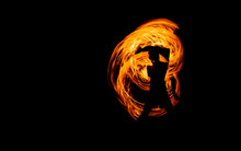 Juggling With Fire, Show Steel Wool Or Swing Fire And Light On The Beach Dance Man, Rotating Lights