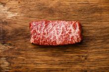 Raw Fresh Marbled Meat Steak Wagyu Beef On Wooden Background