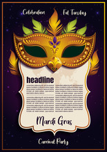 Mardi Gras Template, Golden Mask With Feathers, Gretting Card Banner, Poster, Flyer & Brochure On Background Sparkling Stars, Vector Illustration, EPS10.