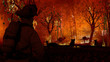 Leinwanddruck Bild - Fireman is looking at aussie animals in wildfire. Kangaroos, koalas all need help from people 3d rendering