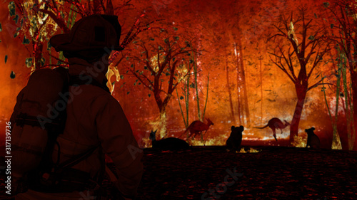 Fireman is looking at aussie animals in wildfire Canvas Print