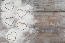 Heart Shapes Made Of Flour On ...