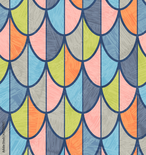 Mid century overlapping fish scales or feathers pattern for backgrounds, gift wrap, wallpaper Fototapeta