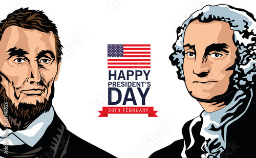 Fotografiet happy presidents day poster with lincoln and washington