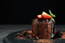 Delicious Warm Chocolate Lava Cake On Slate Board, Closeup. Space For Text