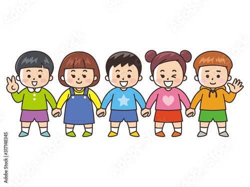 手をつなぐ子供たち 友達 Canvas-taulu