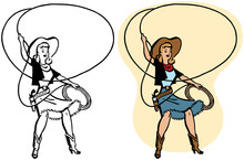 A Cowgirl Twirls A Rope Lasso ...